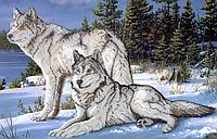 Схема для вышивки бисером Волки на снегу КМР 2010