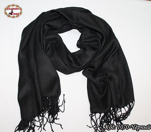 Жаккардовый чёрный шарф, фото 2