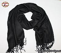 Шерстяной чёрный  шарф из пашмины
