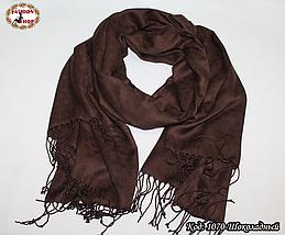 Мужской шерстяной шоколадный шарф, фото 3
