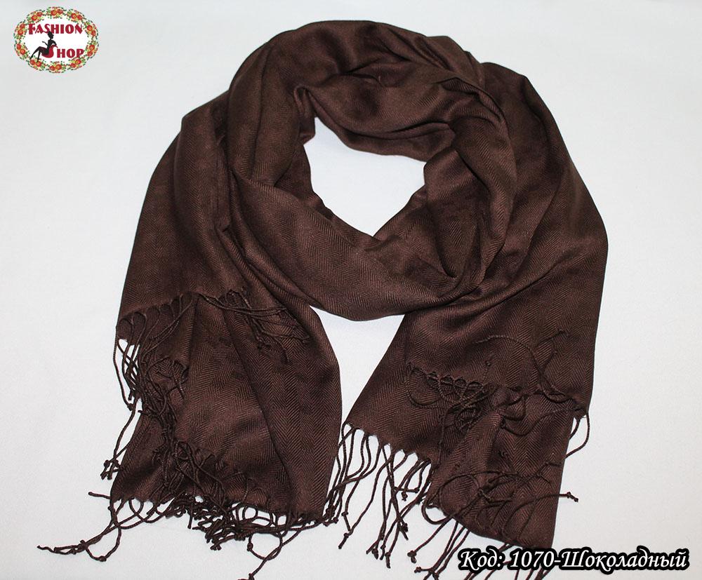 Жаккардовый шоколадный шарф