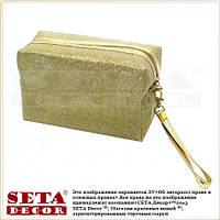 Косметичка сумочка золотистая с ручкой на молнии