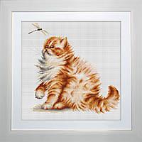B2270 Кошка со стрекозой. Luca-S. Набор для вышивания нитками