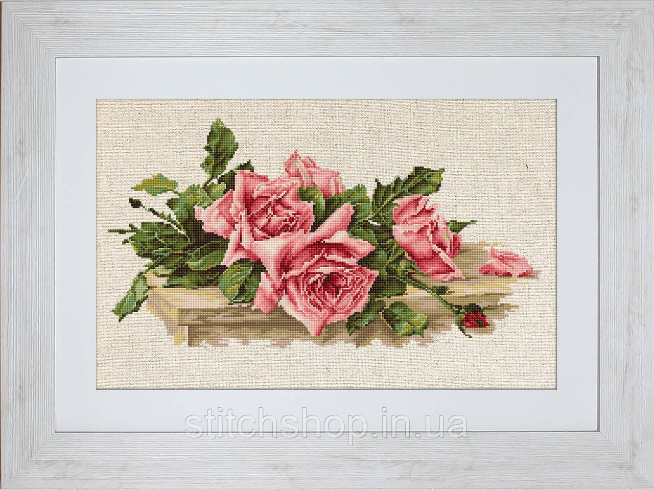 BL22400 Розовые розы. Luca-S. Набор для вышивания нитками