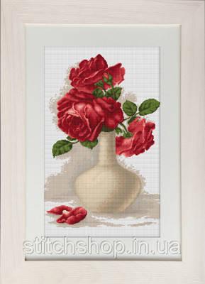 B506 Красные розы в вазе. Luca-S. Набор для вышивания нитками