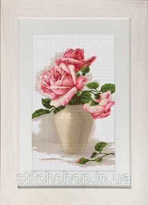 B507 Розовые розы в вазе. Luca-S. Набор для вышивания нитками