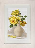 B508 Жёлтые розы в вазе. Luca-S. Набор для вышивания нитками