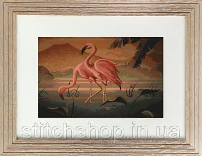 B339 Пара фламинго. Luca-S. Набор для вышивания нитками