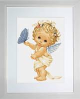 B368 Ангелочек с бабочкой. Luca-S. Набор для вышивания нитками