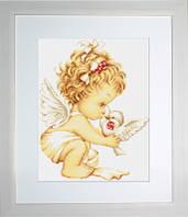 B369 Ангелочек с голубями. Luca-S. Набор для вышивания нитками