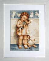 B370 Девочка с куклой. Luca-S. Набор для вышивания нитками