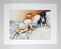 B374 Мальчик с собакой. Luca-S. Набор для вышивания нитками