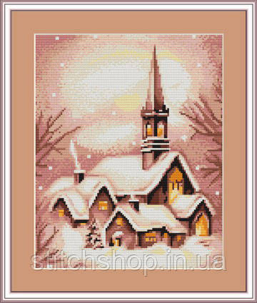 B401 Заснеженная церковь. Luca-S. Набор для вышивания нитками