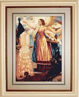 B461 Девушка кормящая павлинов. Luca-S. Набор для вышивания нитками