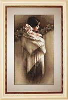 B468 Испанка с платком. Luca-S. Набор для вышивания нитками