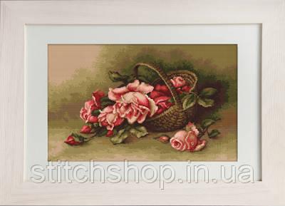 B483 Корзина с розами. Luca-S. Набор для вышивания нитками
