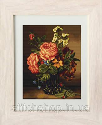 B491 Ваза с розами и цветами. Luca-S. Набор для вышивания нитками