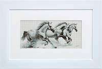 B495 Белые лошади. Luca-S. Набор для вышивания нитками