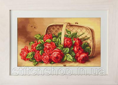 B499 Корзинка с розами. Luca-S. Набор для вышивания нитками