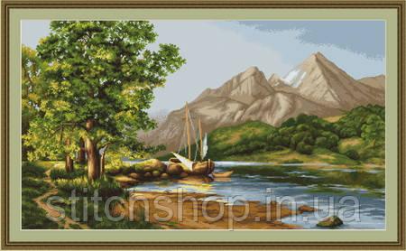 B502 Горное озеро. Luca-S. Набор для вышивания нитками
