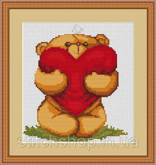 B170 Медвежонок с сердечком. Luca-S. Набор для вышивания нитками