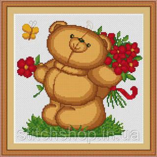 B171 Медвежонок с цветами. Luca-S. Набор для вышивания нитками
