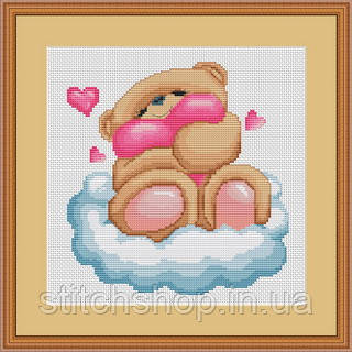 B172 Медвежонок на облачке. Luca-S. Набор для вышивания нитками