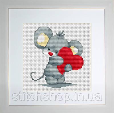 B173 Мышонок с  сердечком. Luca-S. Набор для вышивания нитками