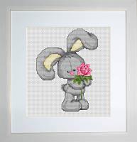 B174 Зайчонок с цветком. Luca-S. Набор для вышивания нитками
