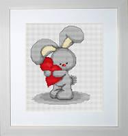 B175 Зайчонок с сердечком. Luca-S. Набор для вышивания нитками