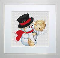 B191 Ангелочек и снеговик. Luca-S. Набор для вышивания нитками