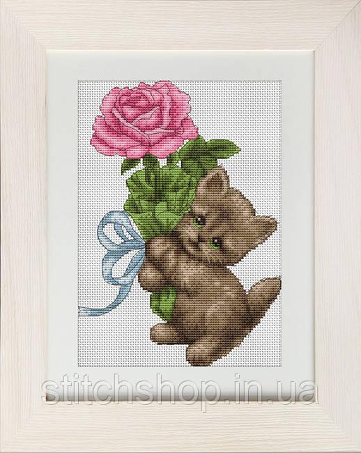 B194 Котёнок с розой. Luca-S. Набор для вышивания нитками