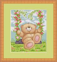 B196 Медвежонок на качелях. Luca-S. Набор для вышивания нитками