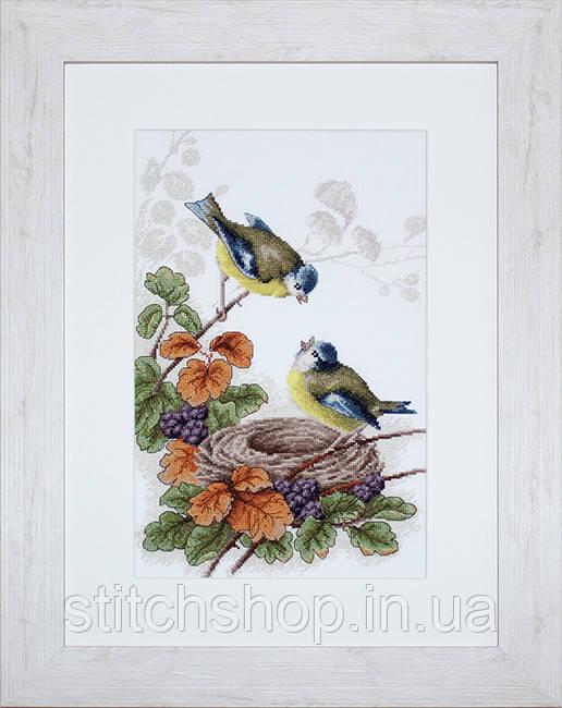 B215 Птички у гнезда. Luca-S. Набор для вышивания нитками