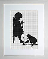 B286 Девочка с кошечкой. Luca-S. Набор для вышивания нитками