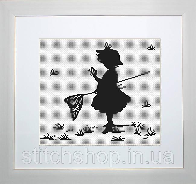 B287 Девочка с бабочками. Luca-S. Набор для вышивания нитками