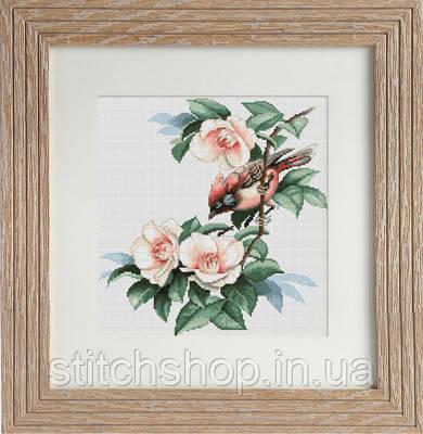 B299 Птичка в цветах. Luca-S. Набор для вышивания нитками