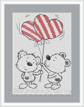 B1072 Два медвежонка. Luca-S. Набор для вышивания нитками