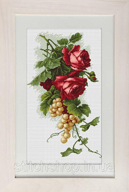 B2229 Красные розы с виноградом. Luca-S. Набор для вышивания нитками