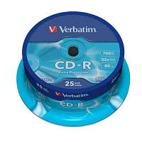 Диск CD-R  Verbatim 700Mb/80min 52x (cake  25шт)Extra