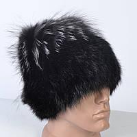 Жіноча шапка з натурального хутра - кролик / чорнобурка