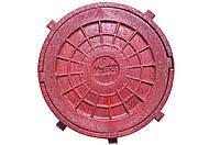 Люк канализационный пластиковый d620 (1,5т красный)
