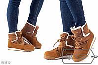 Короткие женские сапоги на меху с шнуровками