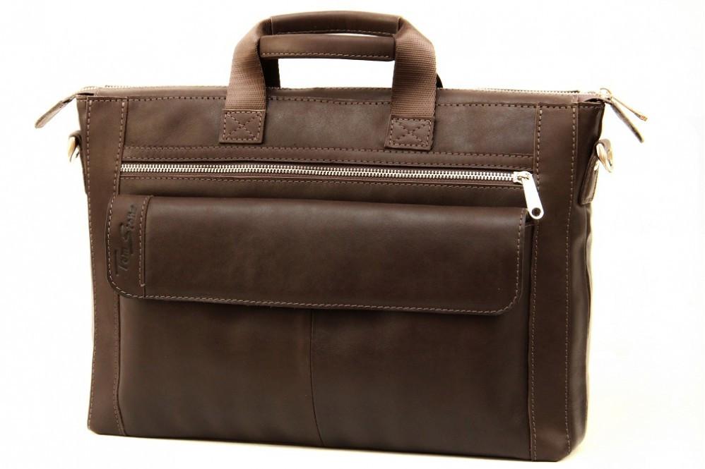 Кожаная мужская сумка-портфель Tom Stone 415 коричневая