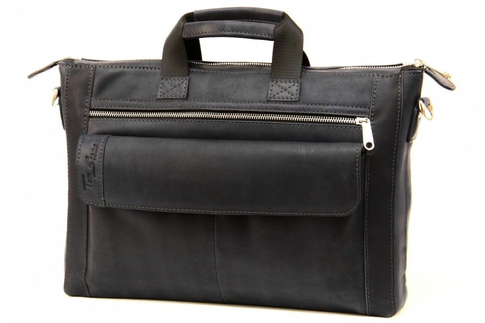 Кожаный мужской портфель-сумка Tom Stone 415 синий
