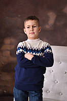 Свитер Many&Many для мальчика-подростка, синий с ромбами