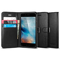 Книжка-Чехол Spigen для iPhone 6s / 6 Wallet S, Black Leather, фото 1