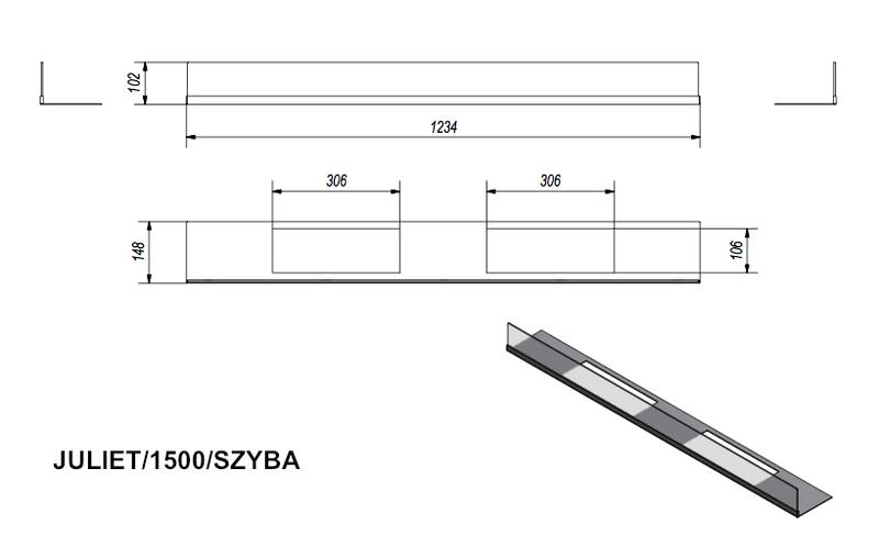 Стекло для биокамина JULIET 1500 (комплект стекло и подставка)