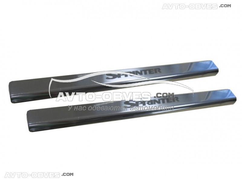 Накладки на внутрисалонные пороги Mercedes Sprinter нержавейка, установка на металл