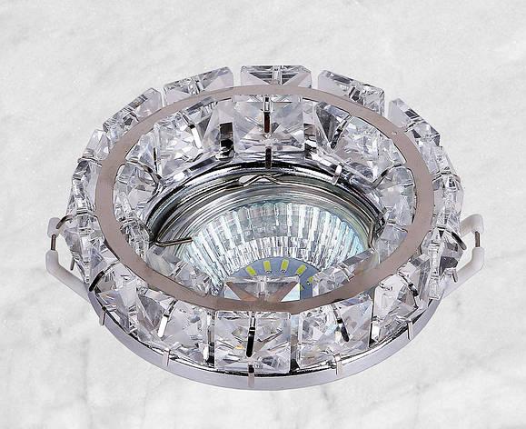 Точечный стеклянный врезной светильник (16-MKD030 CR), фото 2